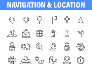 Wall Mural - Set of 24 Navigation and location, map, globe web icons in line style. GPS, compass, global, marker, map, pointer. Vector illustration.