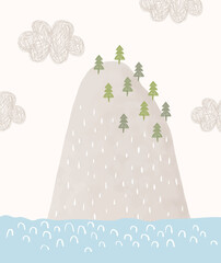 Cute Simple Vector Illustration with Desert Island and Cloudy Sky. Abstract Infantile Style Mountain and Green Trees Isolated on an Off-White Background. Kids Room Decoration.