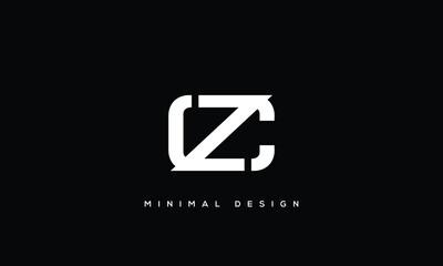 Fototapeta alphabet letters monogram icon logo CZ or ZC obraz