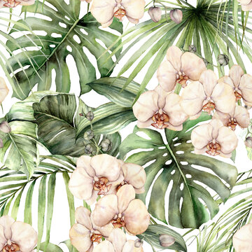 Watercolor seamless pattern with jungle palm leaves and orchids. Hand painted exotic flowers and leaves isolated on white background. Floral tropical illustration for design, fabric or background.