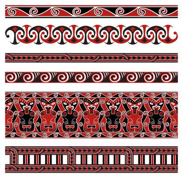 Maori Traditional Seamless Vector Patterns Set