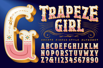 An Ornate Circus Style Alphabet with Metallic Gold Accents and Detailed Flourishes