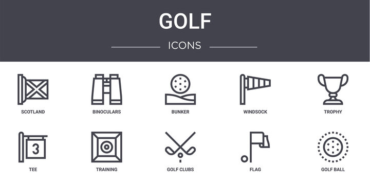 golf concept line icons set. contains icons usable for web, logo, ui/ux such as binoculars, windsock, tee, golf clubs, flag, golf ball, trophy, bunker