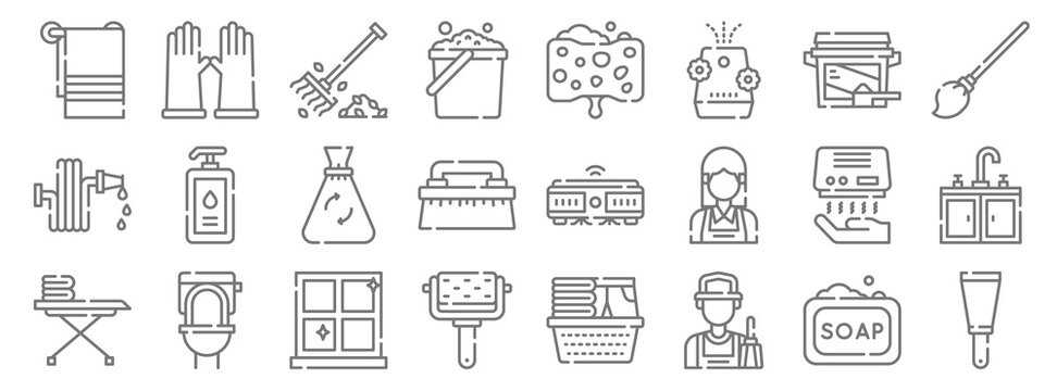 cleaning line icons. linear set. quality vector line set such as paint scraper, cleaner, roller, iron board, hand dryer, garbage bag, mop, sponge, rubber gloves