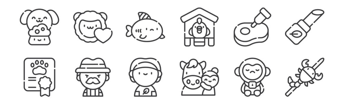 12 set of linear animal welfare icons. thin outline icons such as scorpion, animal care, hunter, meat, shark, animals for web, mobile.