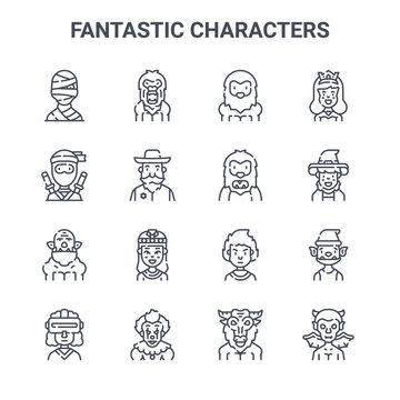 set of 16 fantastic characters concept vector line icons. 64x64 thin stroke icons such as bigfoot, ninja, wizard, fireman, clown, devil, minotaur, yeti, princess