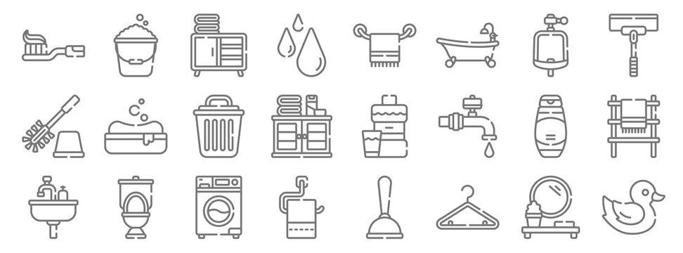 bathroom line icons. linear set. quality vector line set such as rubber duck, hanger, toilet paper, sink, shampoo, bin, wiper, towel, bucket