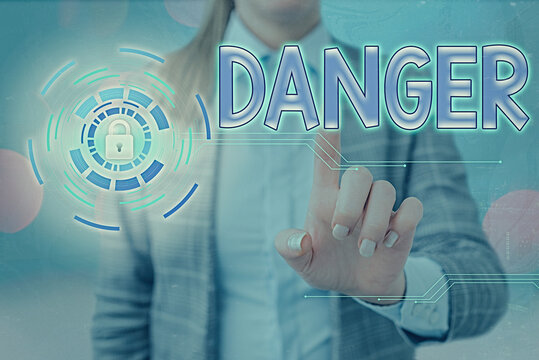 Word writing text Danger. Business photo showcasing general word for liability to all kind of injury or evil consequences Graphics padlock for web data information security application system