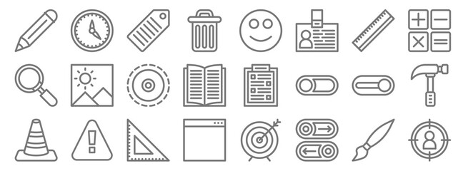 miscellaneous line icons. linear set. quality vector line set such as target, button, browser, cone, switch on, tactile, calculator, happy, timer