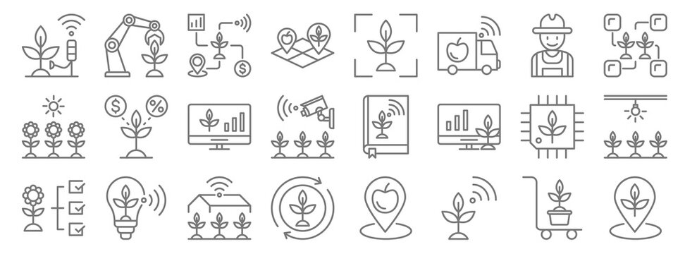 smart farm line icons. linear set. quality vector line set such as place, plant, cycle, flower, cpu, monitor, connection, scanner, robot