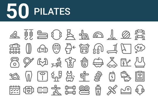 set of 50 pilates icons. outline thin line icons such as headphones, calendar, yoga, kettlebell, accesories, hook, hand