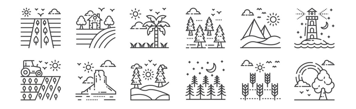 12 set of linear nature and landscape icons. thin outline icons such as rainbow, trees, landscape, desert, tropical, farm house for web, mobile.
