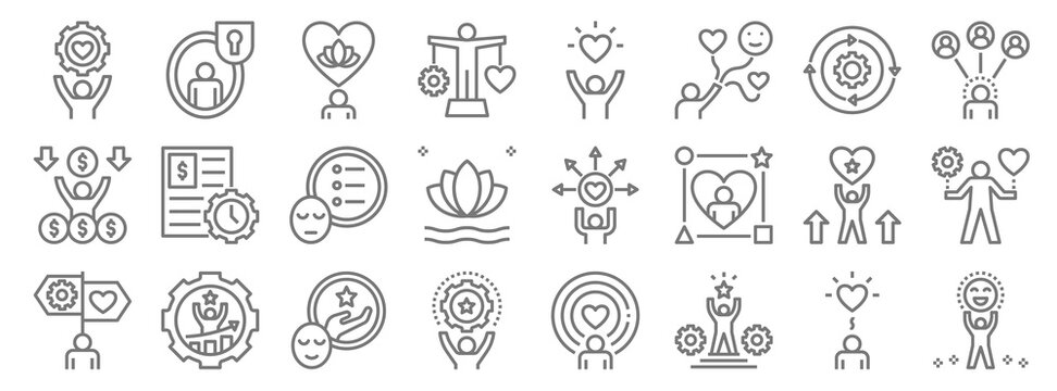 work life balance line icons. linear set. quality vector line set such as enjoy, success, skill, guidance, motivation, priority, relationship, quality of life, private life