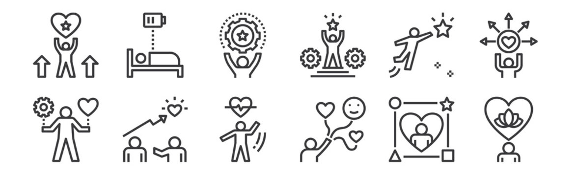 12 set of linear work life balance icons. thin outline icons such as mental, happiness, coaching, ambition, skill, rest for web, mobile.