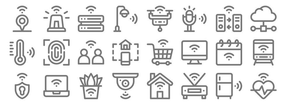 internet of things line icons. linear set. quality vector line set such as heartbeat, wifi, cctv, shield, calendar, network, network, smart drone, siren