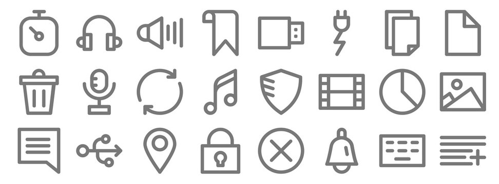 user interface line icons. linear set. quality vector line set such as add, bell, lock, notification, pie chart, refresh, file, usb flash drive, headphones