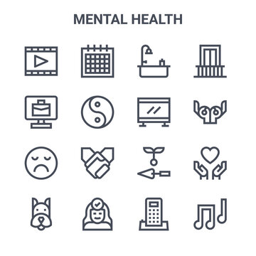 set of 16 mental health concept vector line icons. 64x64 thin stroke icons such as calendar, telecommuting, yoga pose, gardening, positive thinking, musical note, telephone, television, balcony