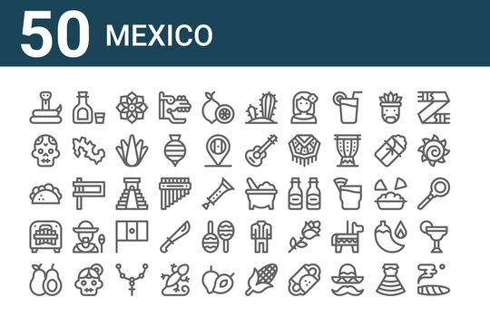 set of 50 mexico icons. outline thin line icons such as cigar, avocado, marimbol, taco, skull, tequila, molcajete