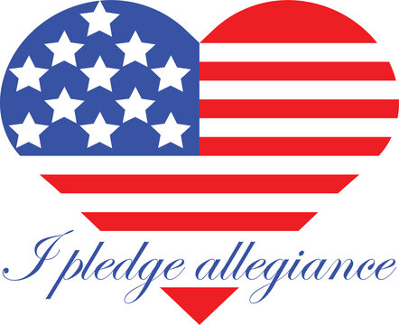 Independence Day Heart Shaped Flag with I pledge allegiance