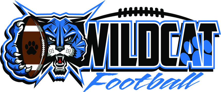 wildcat football team design with mascot holding ball for school, college or league