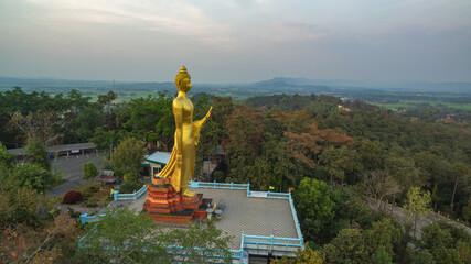 .aerial view pavilion of wat Phra That Jom Wae or Black Scorpion Temple Chiang Rai.Phra That Jom Wae temple is on the high mountain