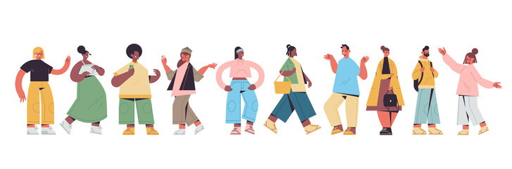 set cute people in casual trendy clothes mix race men women standing in different poses, male female cartoon characters collection full length isolated horizontal vector illustration