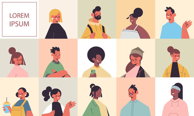 set men women avatars avatars happy people looking in camera male female cartoon characters portraits collection copy space vector illustration