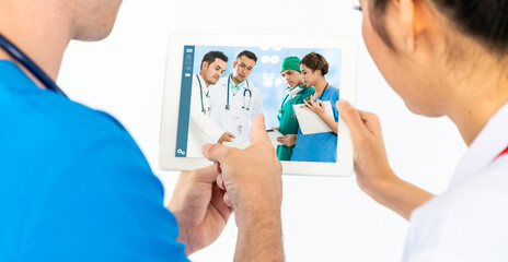 Doctor telemedicine service online video for virtual patient health medical chat . Remote doctor...