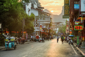 Amazing view of a street in Yangshuo County at sunset