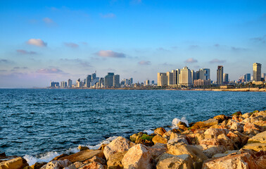 Sunset view from old Jaffa to waterfront and city of Tel Aviv, Israel.
