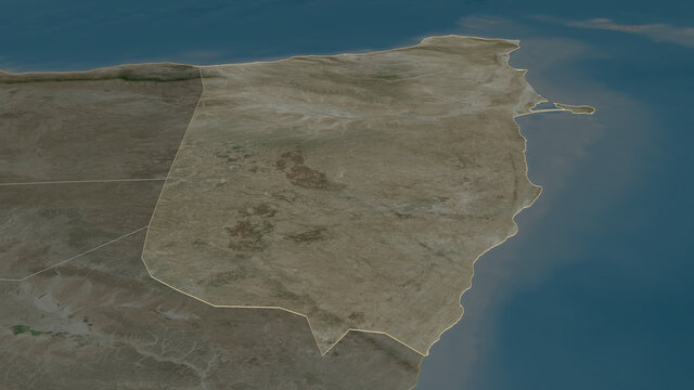 Bari, Somalia - outlined. Satellite