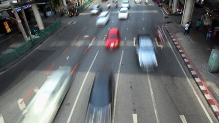 Thailand - 6/27/2020 :Pictures of traffic in Bangkok, Anusaree Chai, Thailand.