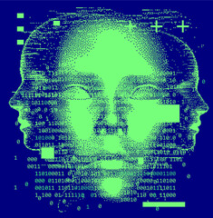 Abstract technology background with binary code and 3d face mask. Conceptual illustration of Artificial intelligence.