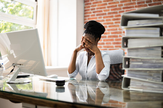 African American Business Woman Tired