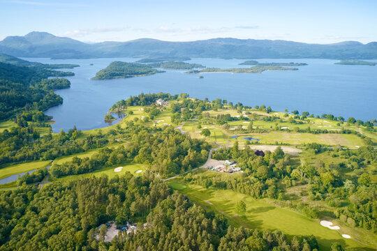 Loch Lomond golf course aerial view Scotland
