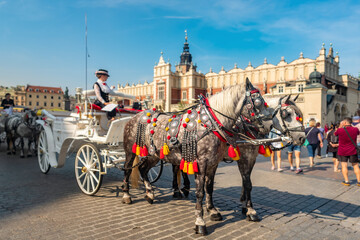 Wall Murals Bridges Horses carriages at Main square in Krakow, Poland