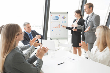 Business people giving presentation