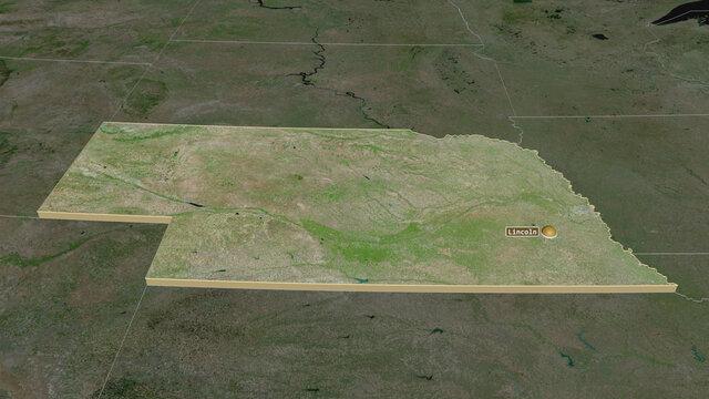 Nebraska, United States - extruded with capital. Satellite