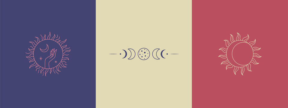 Set of linear magic signs and symbols. Mysterious illustrations. A logo for an isoteric store, for a witch. Silhouette of a hand in a circle holds the moon and stars, lunar eclipse, stylized sun.