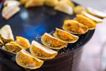 Thai crispy Pancake cook from iron pan
