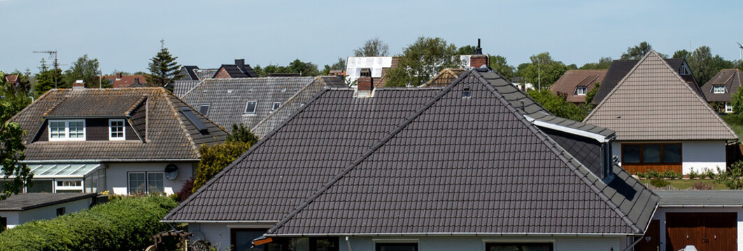 tiled roofs of houses.