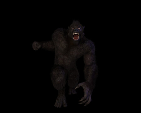 3d illustration of an aggressive Bigfoot/sasquatch/gugwe