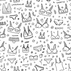 Lingerie seamless pattern. Vector underwear background design. Outline hand drawn illustration. Bras and panties doodle.