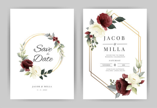 Wedding invitation card template set with flower red and white rose  watercolor and gold frame vector