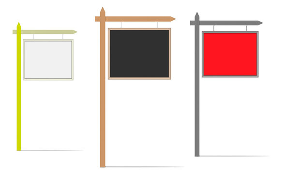 Blank hanging signboard, vector mock-up. Empty street sign, template for design. Color mockup set. Easy to recolor