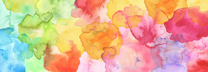 Watercolor smear blot painting. Canvas texture horizontal abstract background.