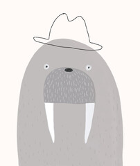 Portrait of Mr. Walrus in a Bowler Hat. Funny Hand Drawn Vector Illustration with Gray Arctic Walrus. Infantile Style Nursery Art. Kids Room Decoration.