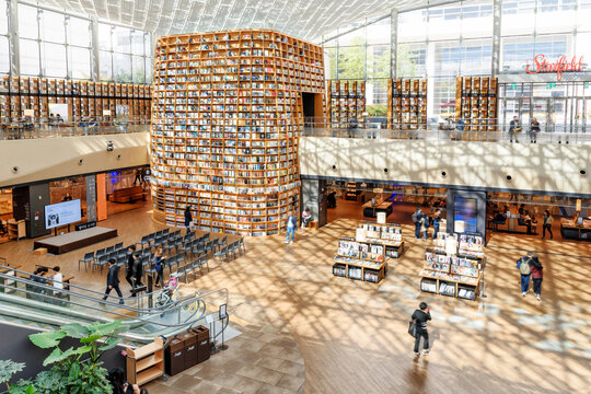 View of the Starfield Library reading area, Seoul, South Korea