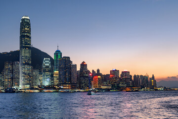 Fabulous view of Hong Kong Island skyline at sunset