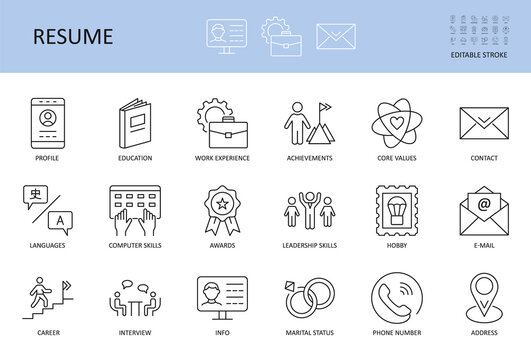 Resume icons. Editable stroke vector set. Includes profile work experience education core values. Achievements hobbies knowledge of languages. Computer skills leadership job interview career contacts